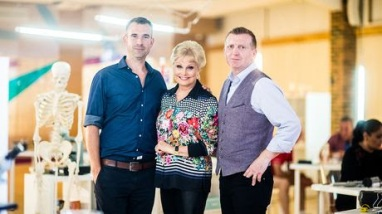 Picture Shows: Presenters Dr Chris van Tulleken, Angela Rippon with lead scientist Prof Mike Trenell